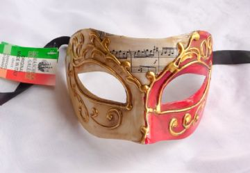 Genuine Venetian Red & Cream ornate half Mask b